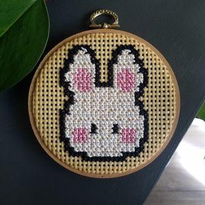 Bunny Rabbit Crossstitch Accent Decor Art Boho